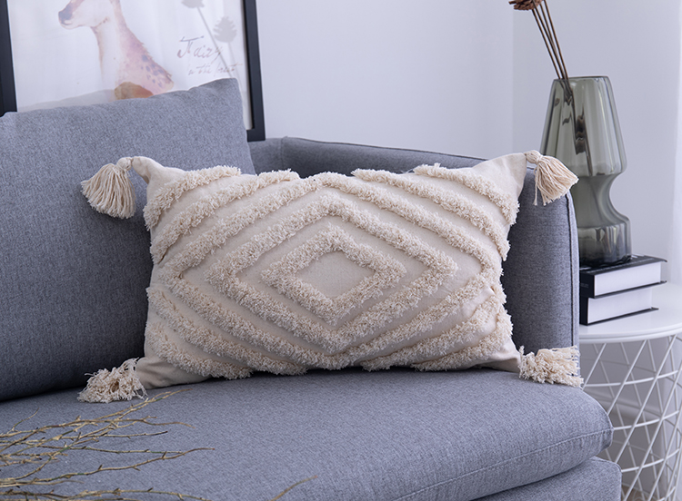 Tassels Decorated Cushion Cover in Moroccan Style