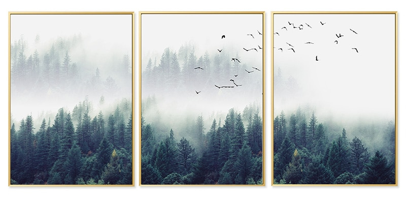 Nordic Forest in Fog Printed Canvas Poster