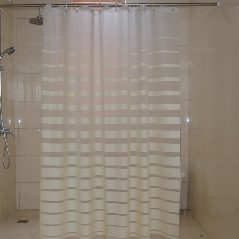 Waterproof Striped Shower Curtain with Hooks