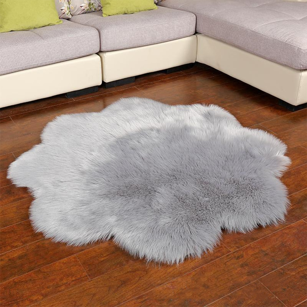 Eco Fur Flower Shaped Rug