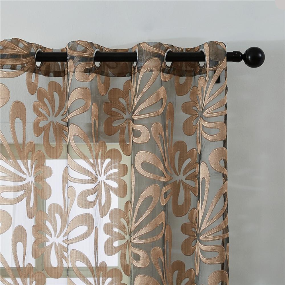 Geometric Embroidered Modern Window Curtain