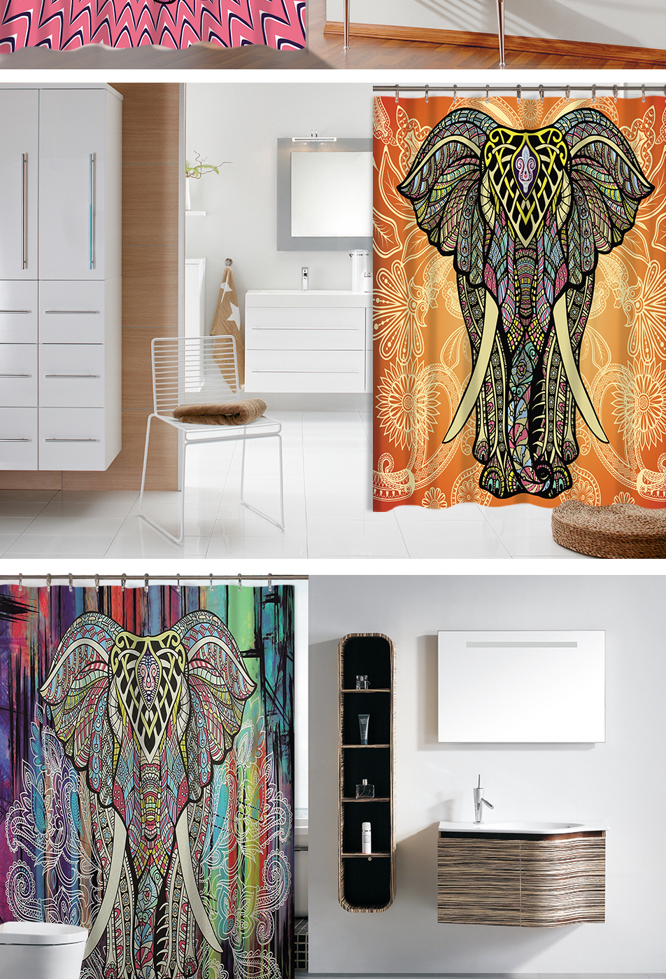 Indian Style Colorful Printed Waterproof Bathroom Curtain and Mat