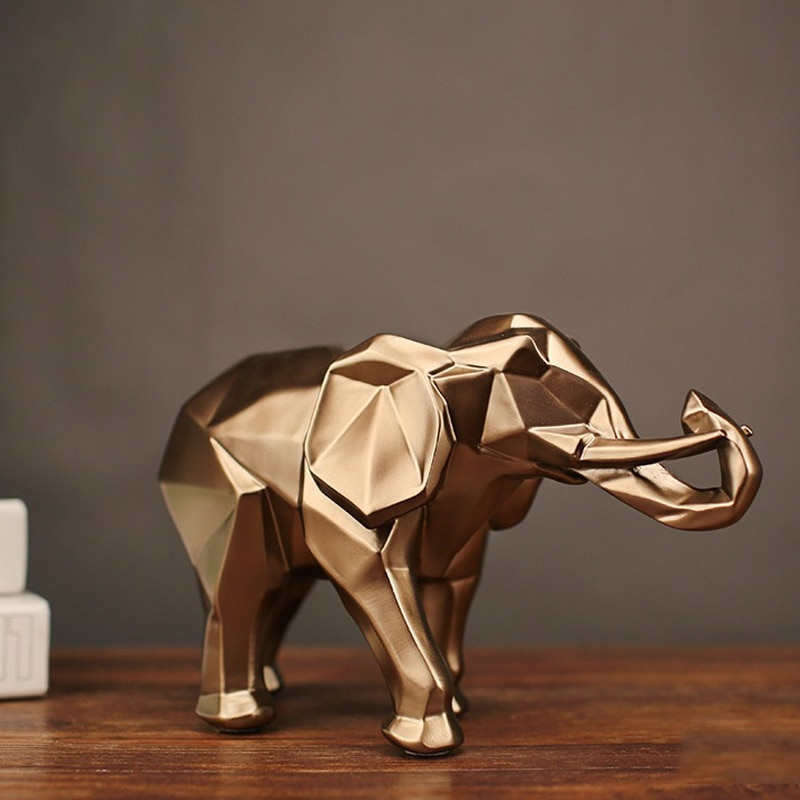 Gold Elephant Statue for Home Decorating
