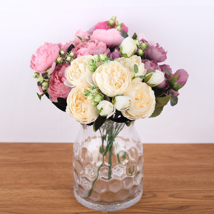 Silk Artificial Peony Flowers Set