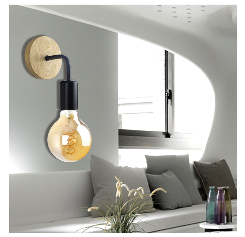 Retro Style Wooden Wall Sconce Lamp
