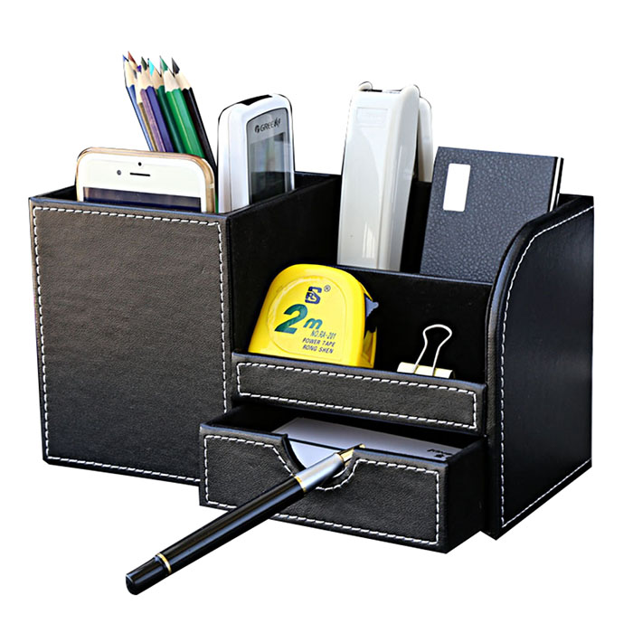 Multi-Function PU Leather Pencil Holder