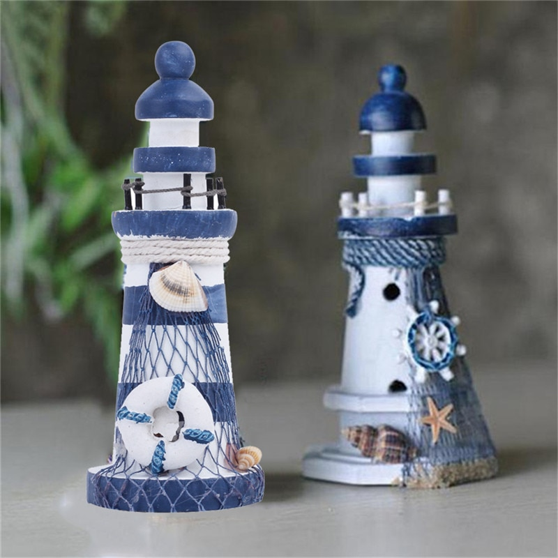 Lighthouse Shaped Wooden Figurine