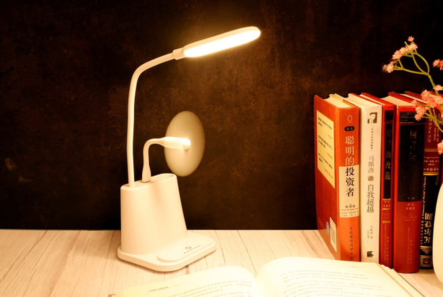Small Plastic Desk Lamp with Phone Stand