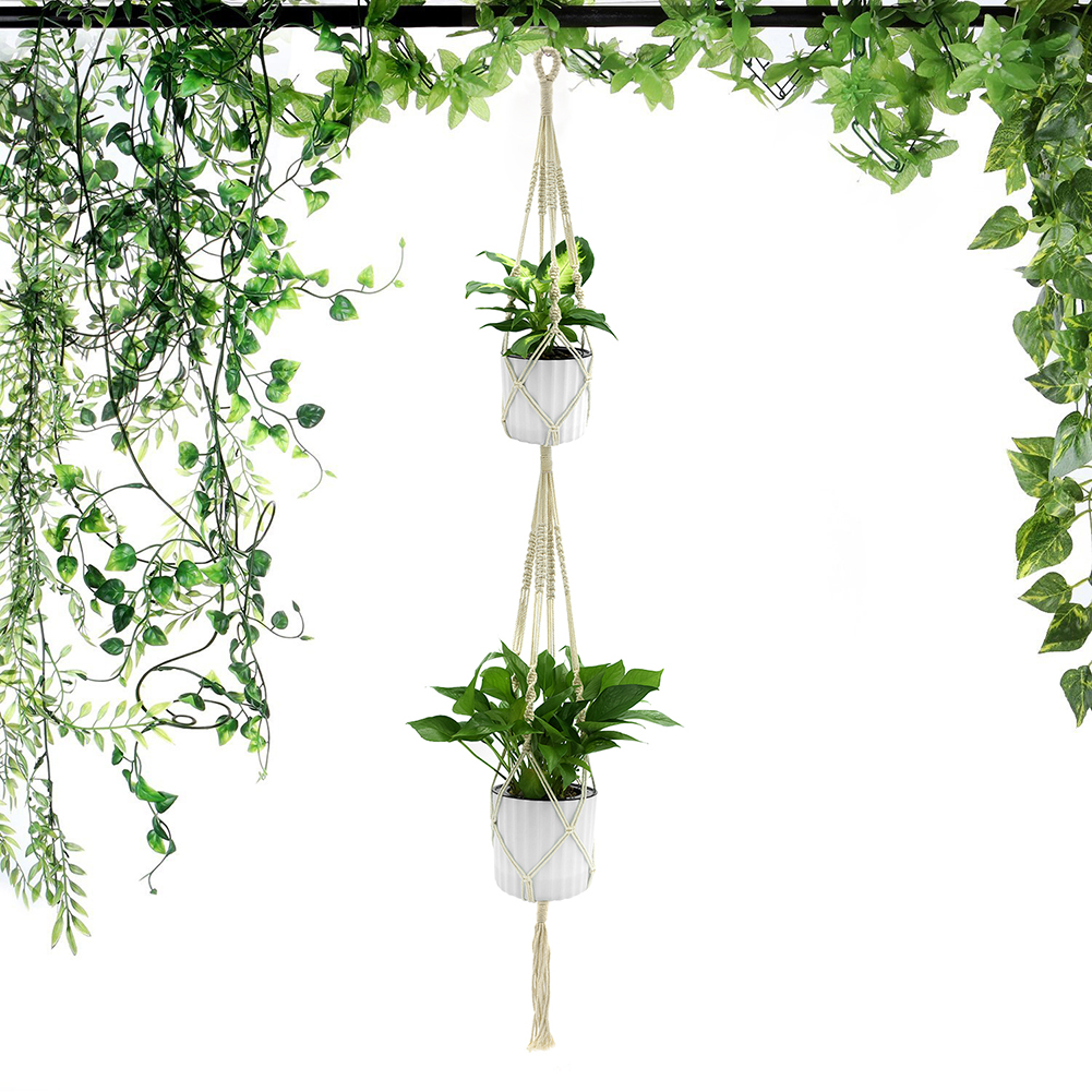 Retro Plant Hanger with 4 Ropes