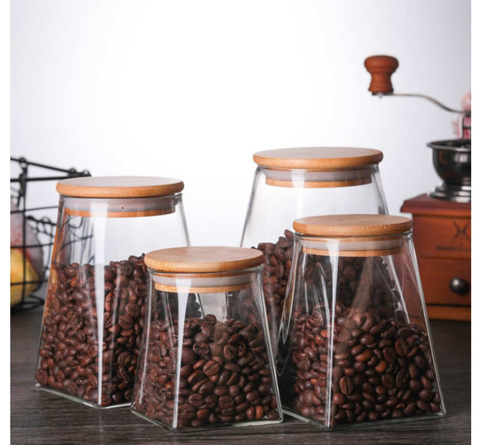 Pyramid Shaped Glass Spice Jar