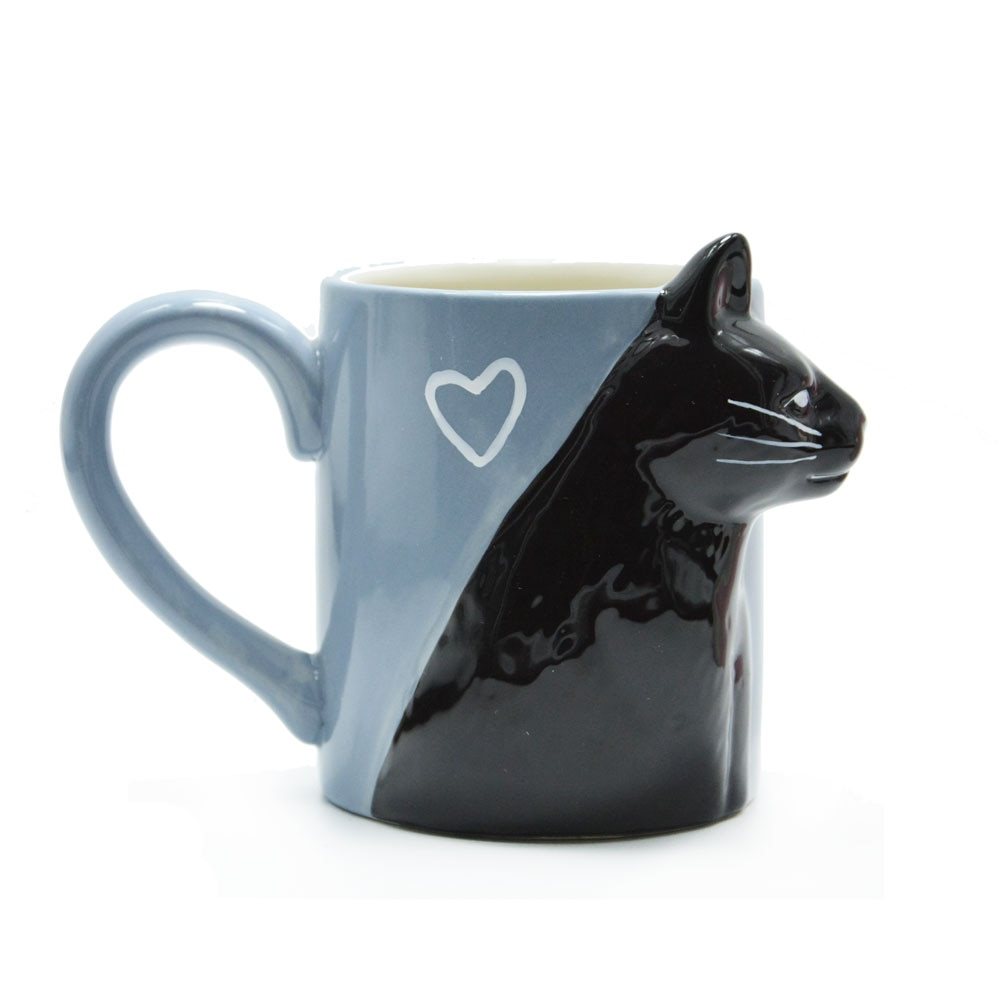 Kissing Cats Mugs Pair for Couples