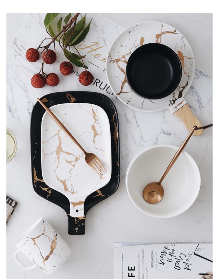 Gold Marbled Ceramic Tableware
